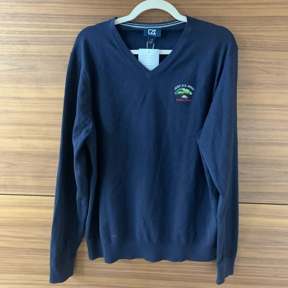 Cutter & Buck Navy Torrey Pines V Neck Sweater - L
